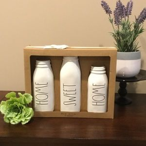 Set/3 Rae Dunn HOME SWEET HOME Milk Bottle Vases